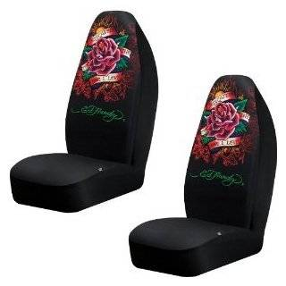 Car Truck SUV True Love Tattoo Print Seat Covers 2 Charcoal Black