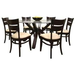 Clifford Modern Round Glass Dining Table and 6 Chairs