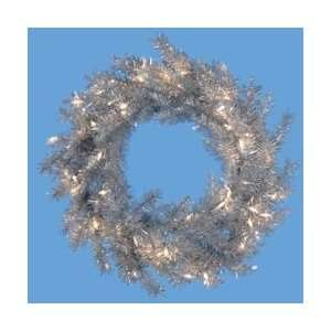 Lit Elegant Silver Colored Artificial Christmas Wreath   Clear Lights