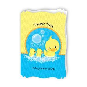 Twin Ducky Ducks   Personalized Baby Thank You Cards With