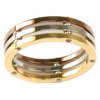 Stainless Steel Ring 316 Chocolate Color Spinner Band CZ Diamonds 8mm