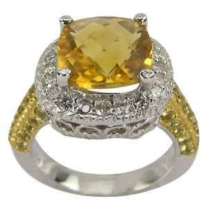 Yellow Sapphire Citrine and Diamond Ring   8.5 DaCarli Jewelry