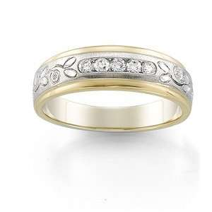 Band Ring Ring. 1/4Ctw Gents Size 11 Two Tone Diamond Duo Rings In 14K