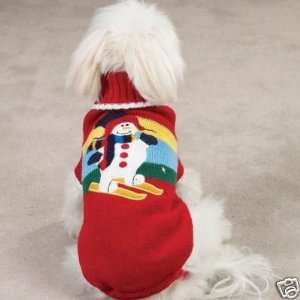 Zack & Zoey Skiing Snowman Dog Sweater Coat EX SMALL