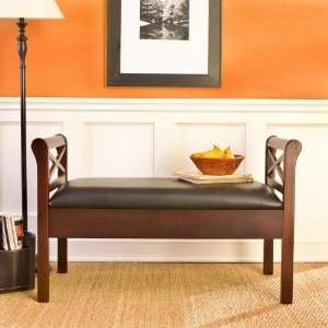 Espresso Storage Bench with Black Faux Leather Seat