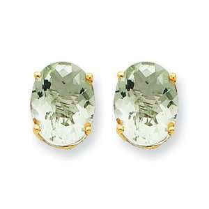 14k Yellow Gold 9x7 Oval Green Amethyst Earring Jewelry