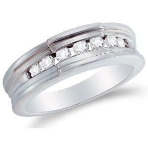 Size 4   14K White Gold Diamond MENS Wedding Band OR Fashion Ring   w