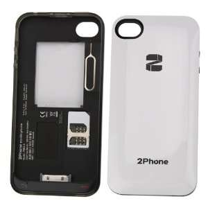 DUAL SIM ADAPTER 2 SIM Card Power Case Battery FOR IPHONE 4 4S White