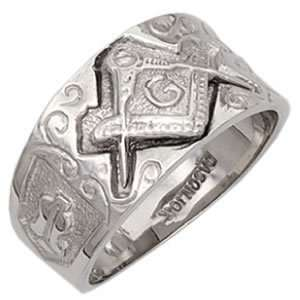 Mens Sterling Silver Masonic Freemason Mason Ring (Size 8) Jewelry
