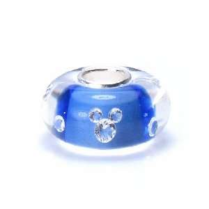 Bella Fascini Mickey Blue & Clear Crystal Murano Glass Bead with Solid