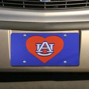Tigers Navy Blue Mirrored Heart License Plate
