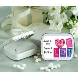 Baby Keepsake Heart in Love Mosaic Personalized Glossy White Hinged