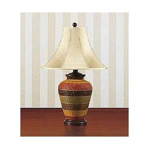 Hand Painted Porcelain Striped Table Lamp (Red) (28.5H x