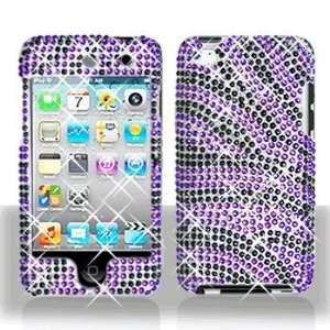 Apple Ipod Touch 4 Full Diamond Bling Purple/Black Zebra Hard Case