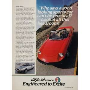 1982 Alfa Romeo Red SPIDER Veloce Sports Car Print Ad   Original Print