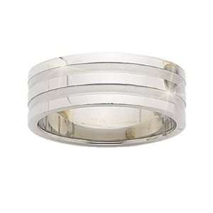Mens Stainless Steel Flat 8 mm Wide Band Ring Jewelry