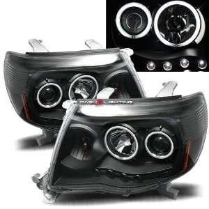 05 10 Toyota Tacoma CCFL Halo Projector Headlights   Black
