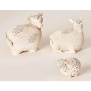 com Pack of 12 Donkey, Sheep and Cow Glittered Animal Christmas Table