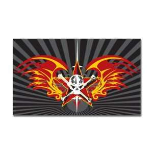 Sticker (Rectangle) Star Skull Flaming Wings