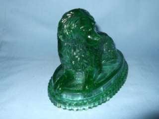 Antique Victorian Davidson pressed green glass dog.