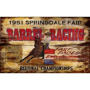 Rustic Vintage Barrel Racing Signs   Retro Rodeo Sign