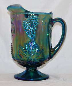 Indiana Blue Carnival Glass Harvest Grape Pitcher