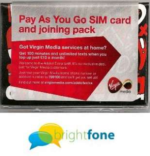 Virgin MICRO Mobile Phone Sim Card with £5.00 Credit Fits iPhone 4