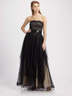 ABS   Strapless Lace Gown