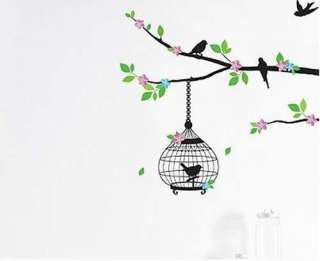 Tree Bird Cage Art Mural Wall Vinyl Sticker Decal Home Decor